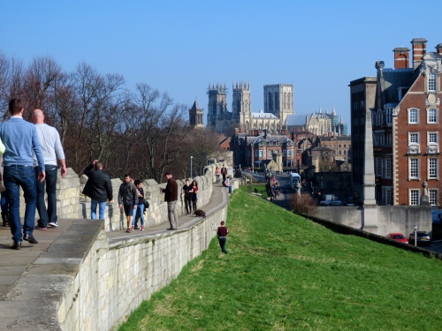 Climbing the city walls in gorgeous York, England